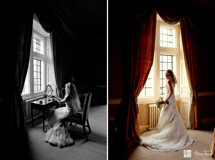 Photograph of bride in window before her Clearwell Castle wedding.