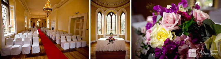 Ceremony room ready for wedding at Clearwell Castle.