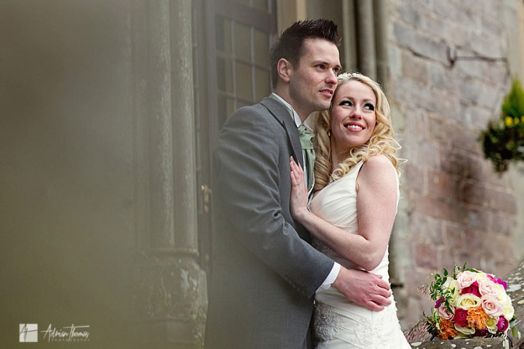 Portrait photo of bride and groom after their Clearwell Castle wedding