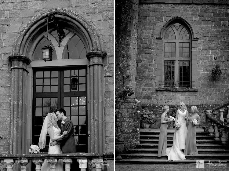 Bridal party outside Clearwell Castle.