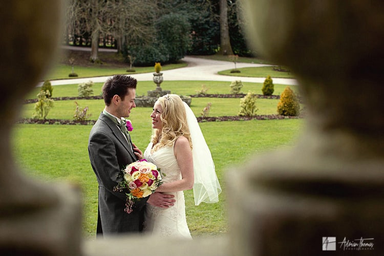 Photograph of bride and groom Clearwell Castle wedding portrait.