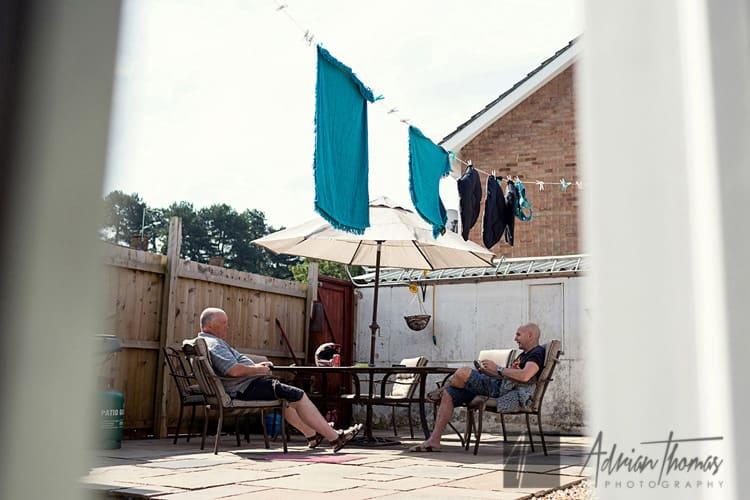 Family chilling in back garden.