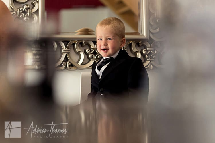 Pageboy at wedding preparations.