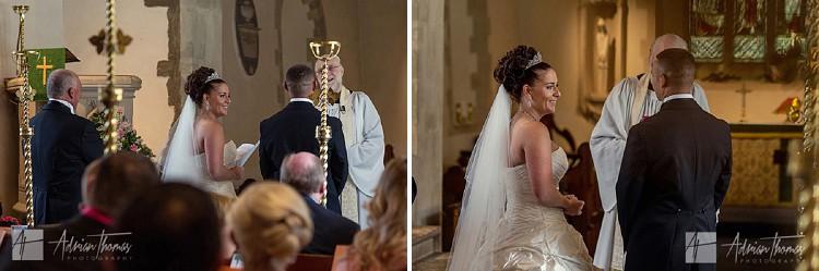 Photograph of wedding service at St Edeyrns Church.