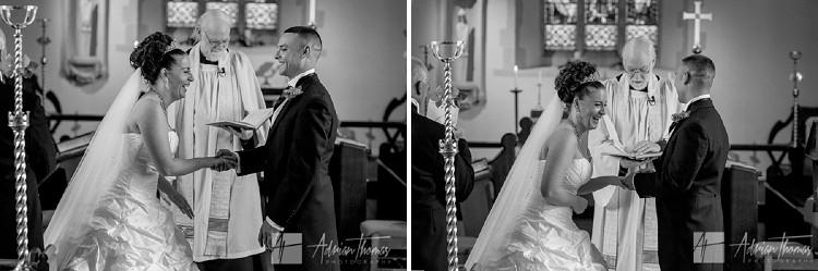 Bride during wedding ceremony.