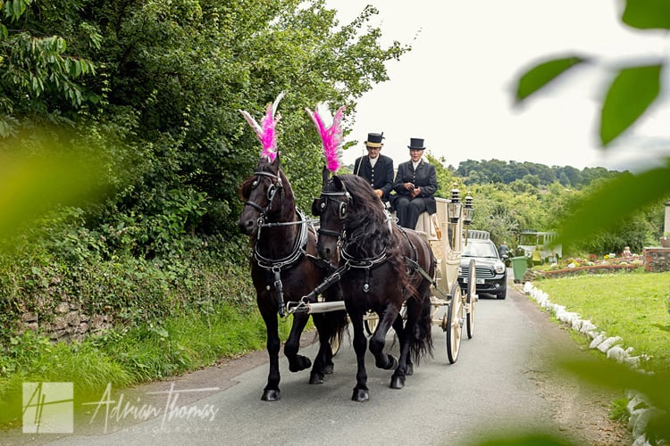 Horse and carriage wedding.