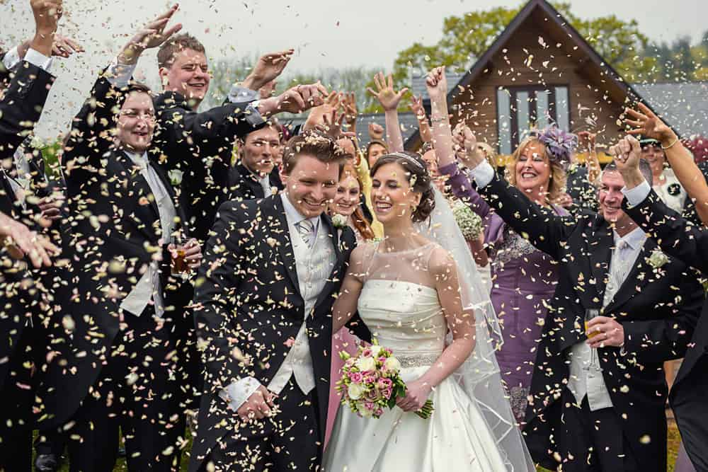 Confetti image during Canada Lodge Lake wedding
