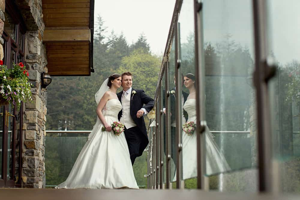 Bride and groom portrait at Canada Lodge Lake wedding