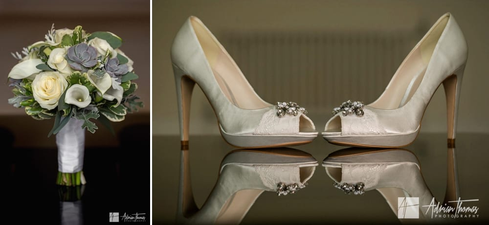 Brides shoes at wedding.