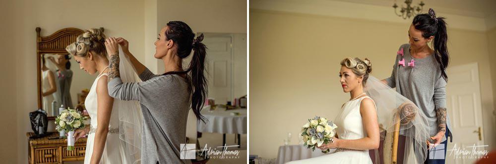 Brides wedding preparations with vail.