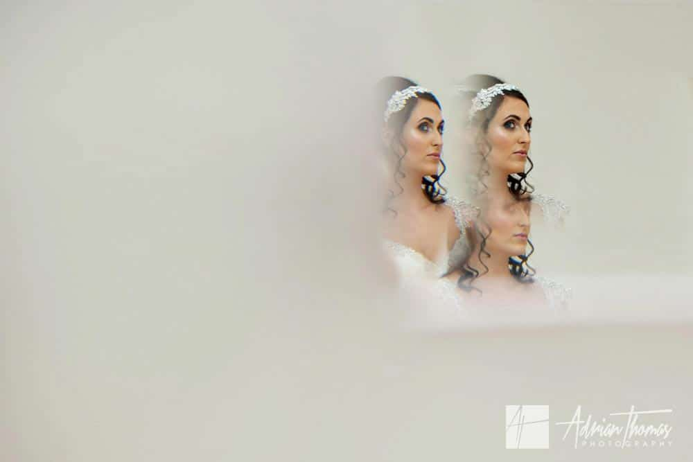Bride portrait before her wedding at Miskin Manor Hotel wedding photographer