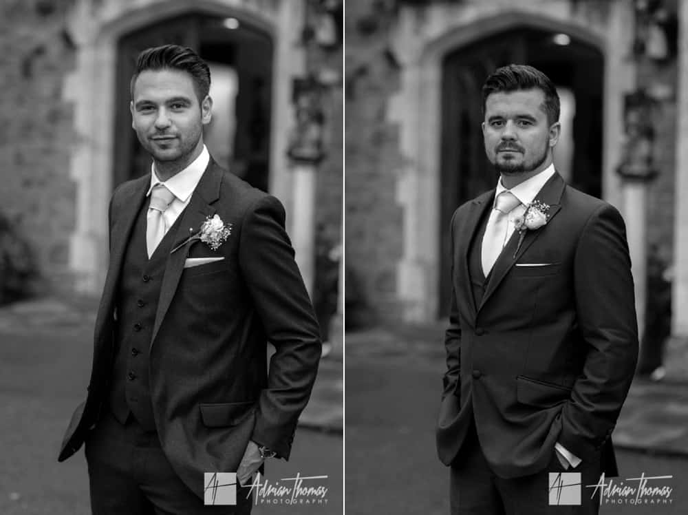 Portraits of groom and bestman.