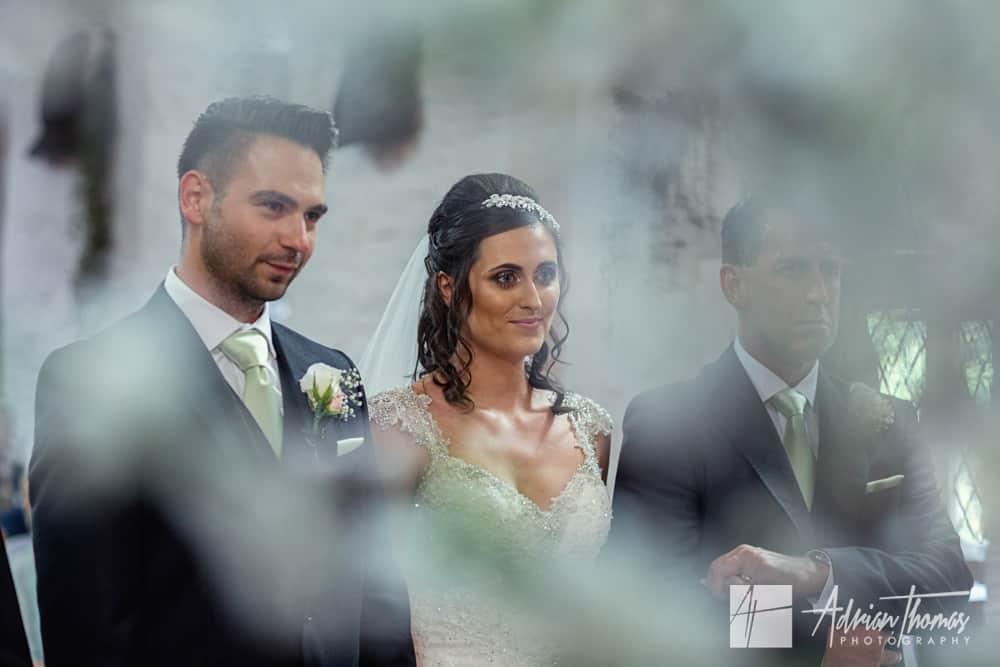 Bride and Groom during Miskin Manor Hotel wedding.