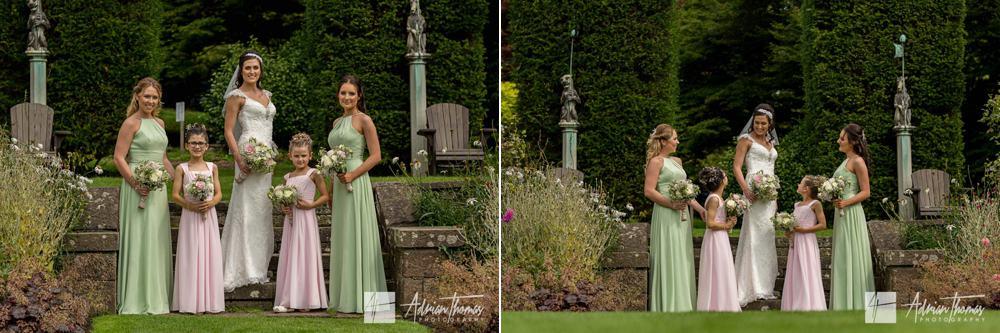 Bride with bridesmaids at Miskin Manor Hotel.