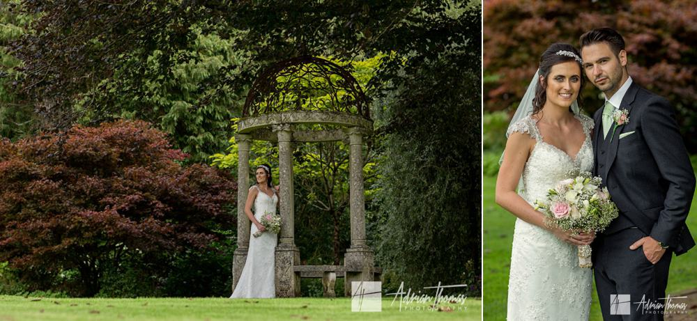 Bride and groom portrait at Miskin Manor Hotel