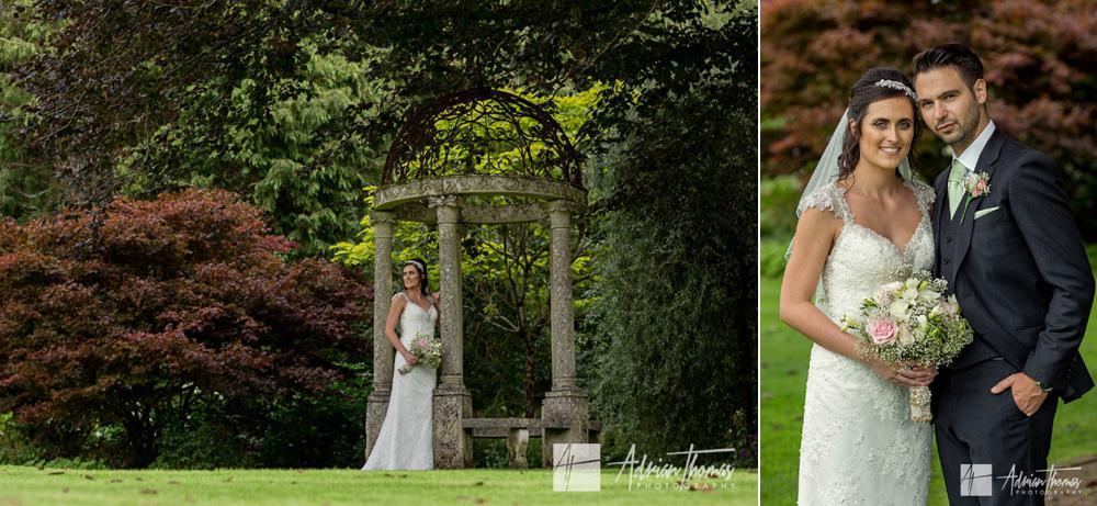 Bride and groom portrait at Miskin Manor Hotel