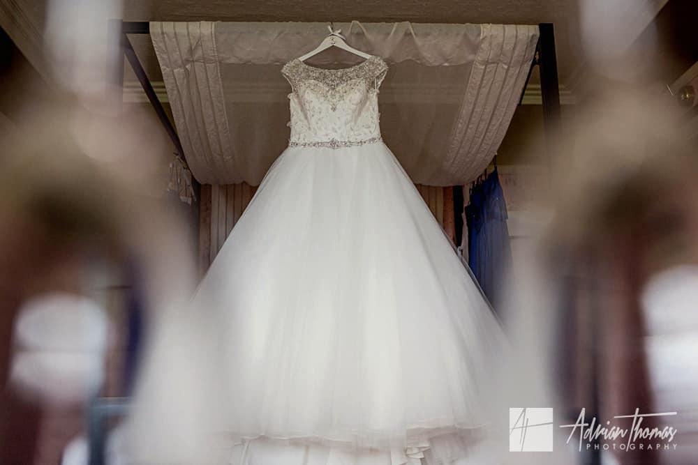 New House Hotel wedding dress hanging up.
