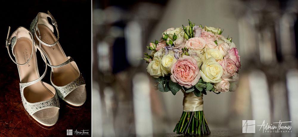 Brides bouquet and shoes