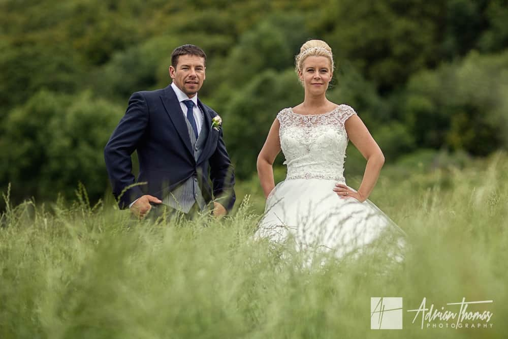 Bride and groom portrait at New House Hotel wedding venue