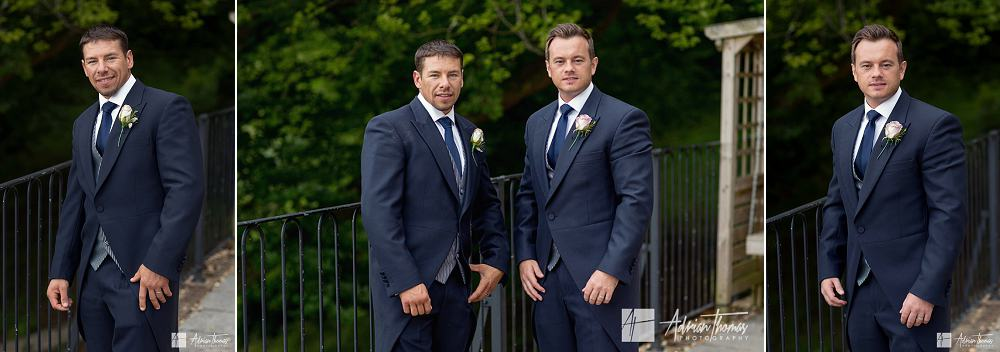 Groom and bestman outside hotel