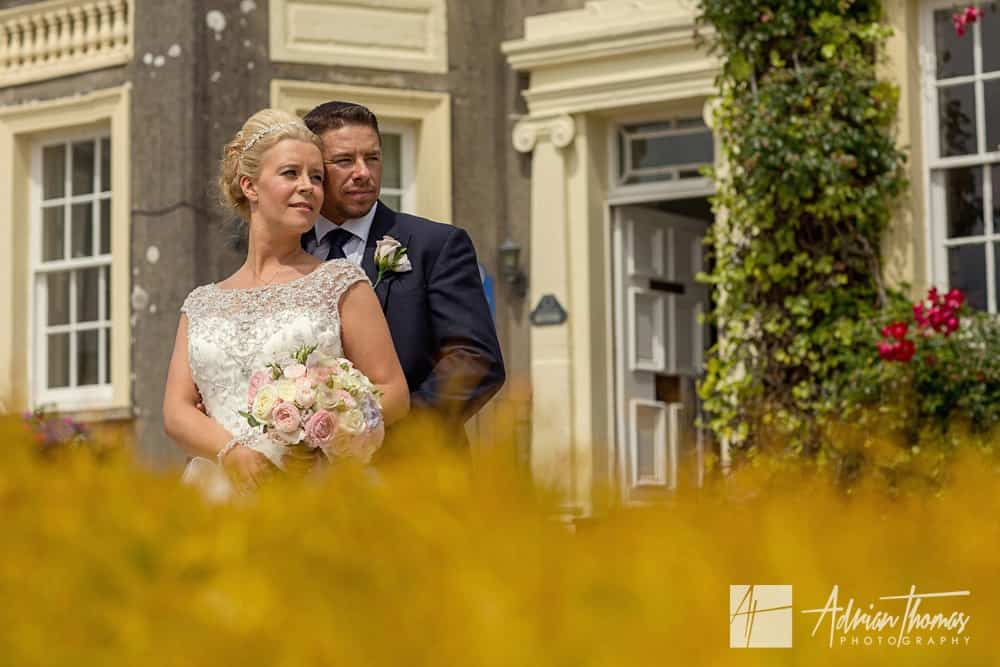 Closeup of Bride and Groom outside their New House Hotel wedding venue.