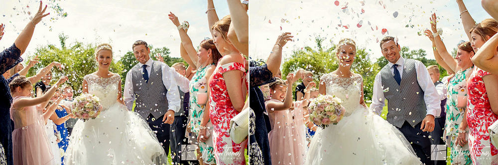 Bride , groom and guest for confetti shot