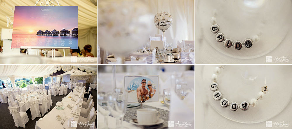 Wedding reception details in marquee