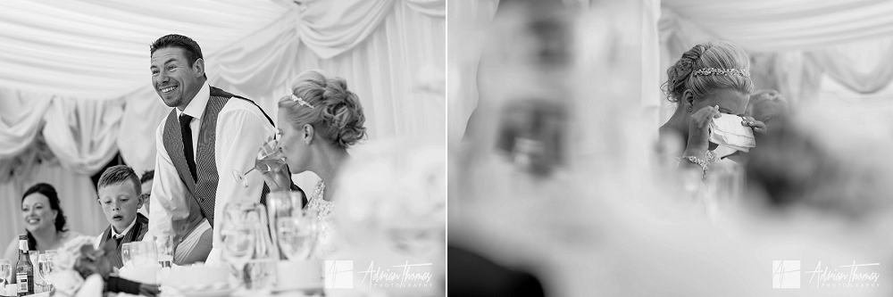Emotional bride during her speeches at her wedding at The New House Hotel in Cardiff
