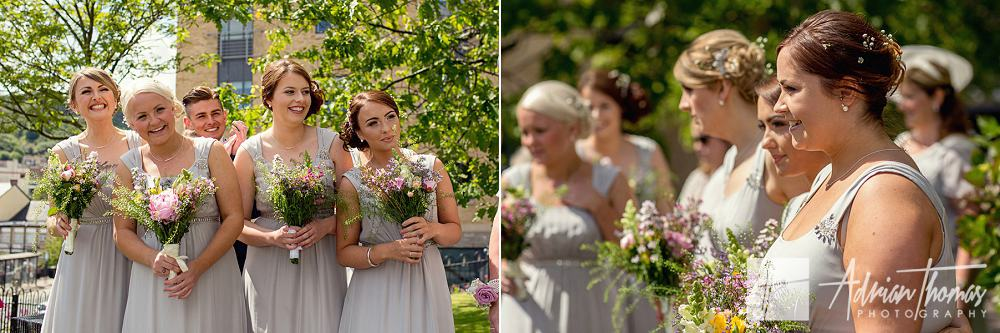 Bridesmaids waiting for bride to arrive