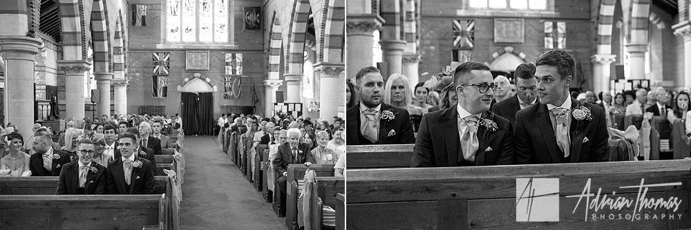 Groom waiting for bride inside church