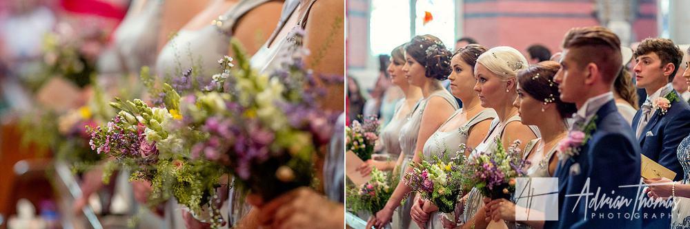 Bridesmaids at wedding ceremony