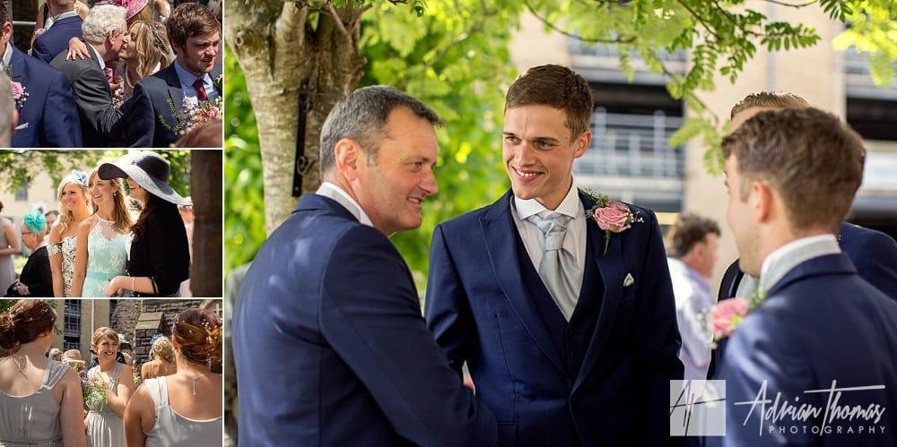 Groom talking to brides dad