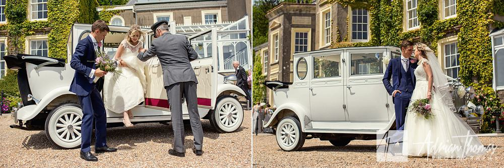 Bride and groom arriving at to celebrate their wedding at The New House Hotel