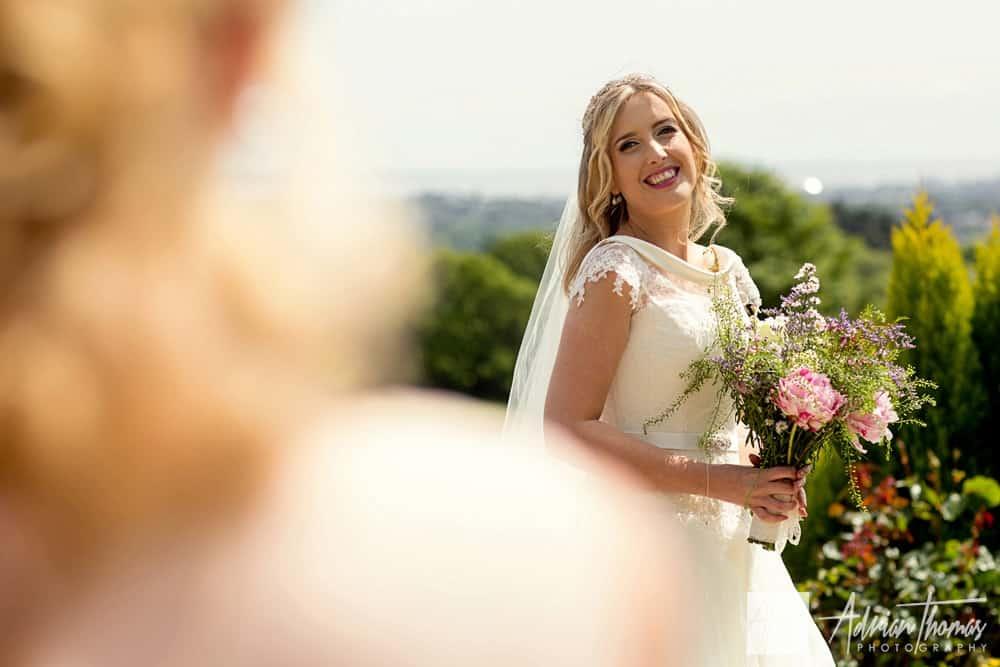 Radiant bride at her wedding reception
