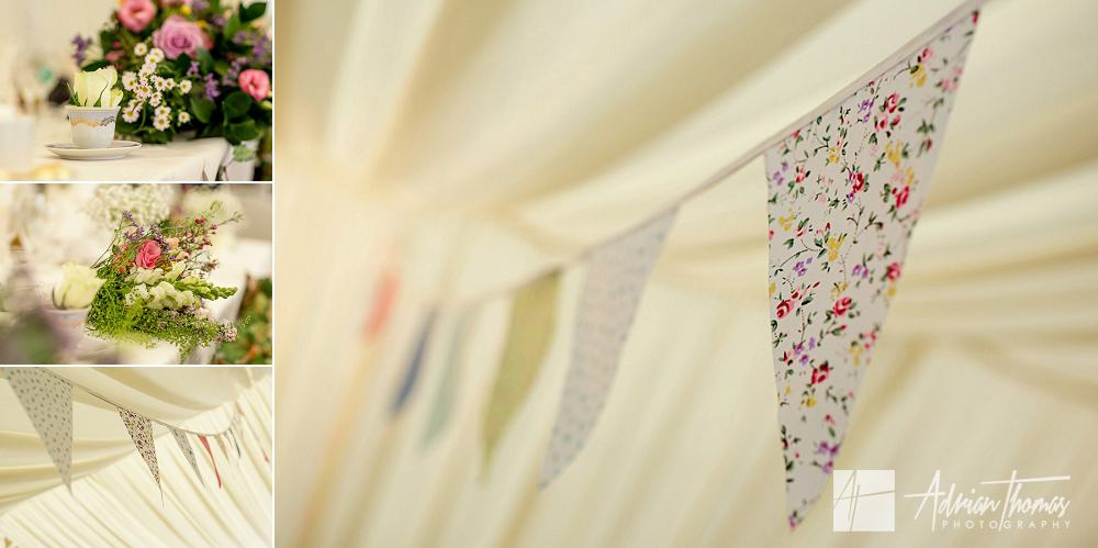 Vintage buntings around wedding reception