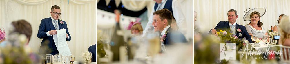 wedding couple during speeches