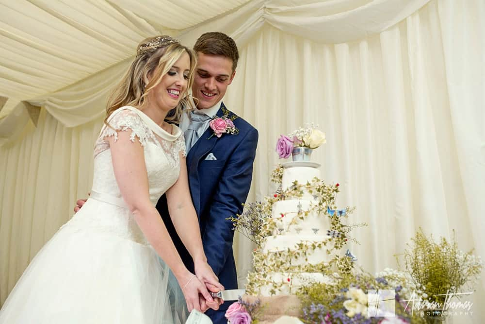 Bride and groom cutting the cake at New house wedding reception venue near Cardiff