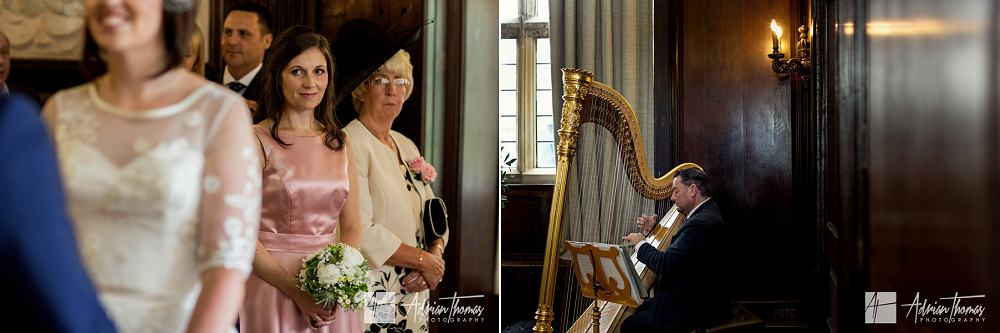 Guests watching harpist play