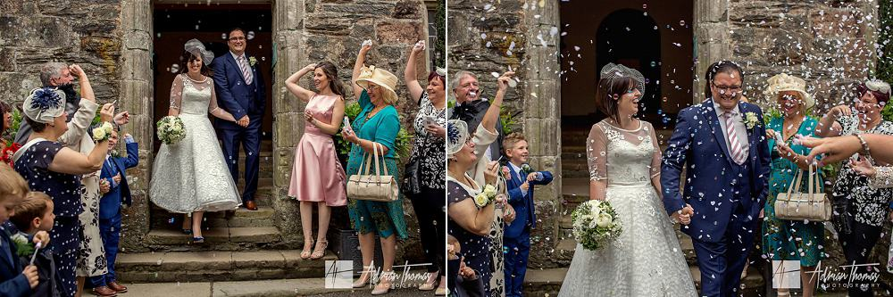Confetti thrown by guests