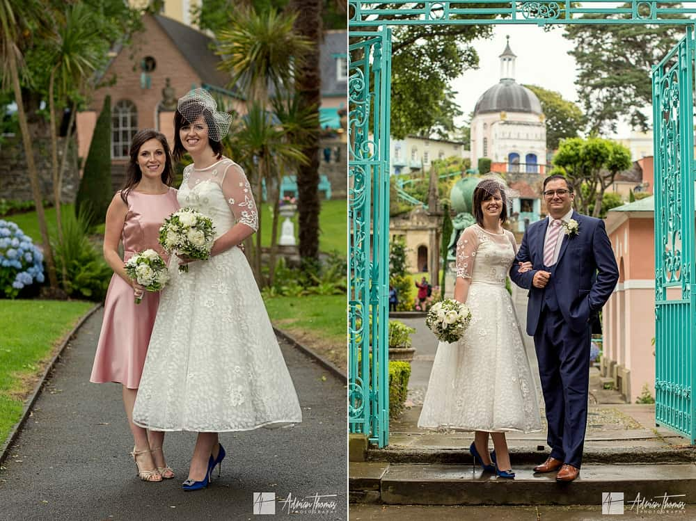 Portrait images of bride , groom and bridesmaid