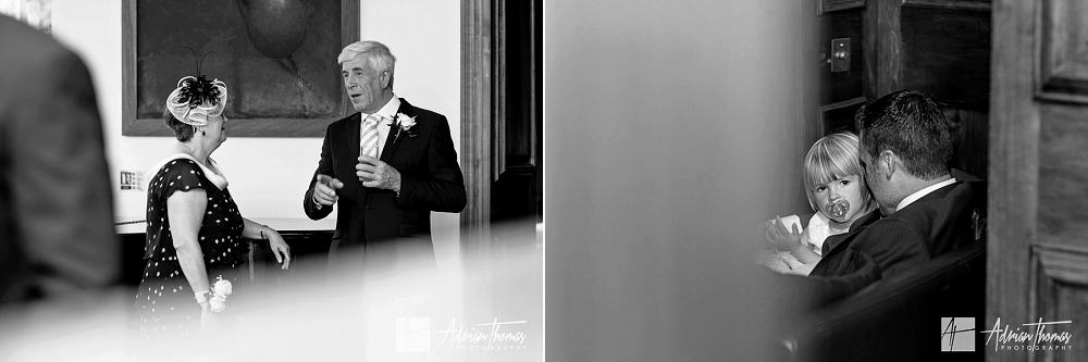 Wedding guests mingle at reception