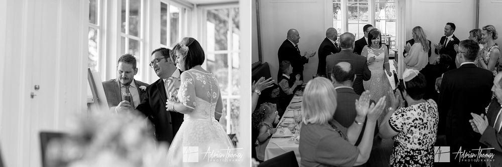 Brdie and goom arriving in wedding reception