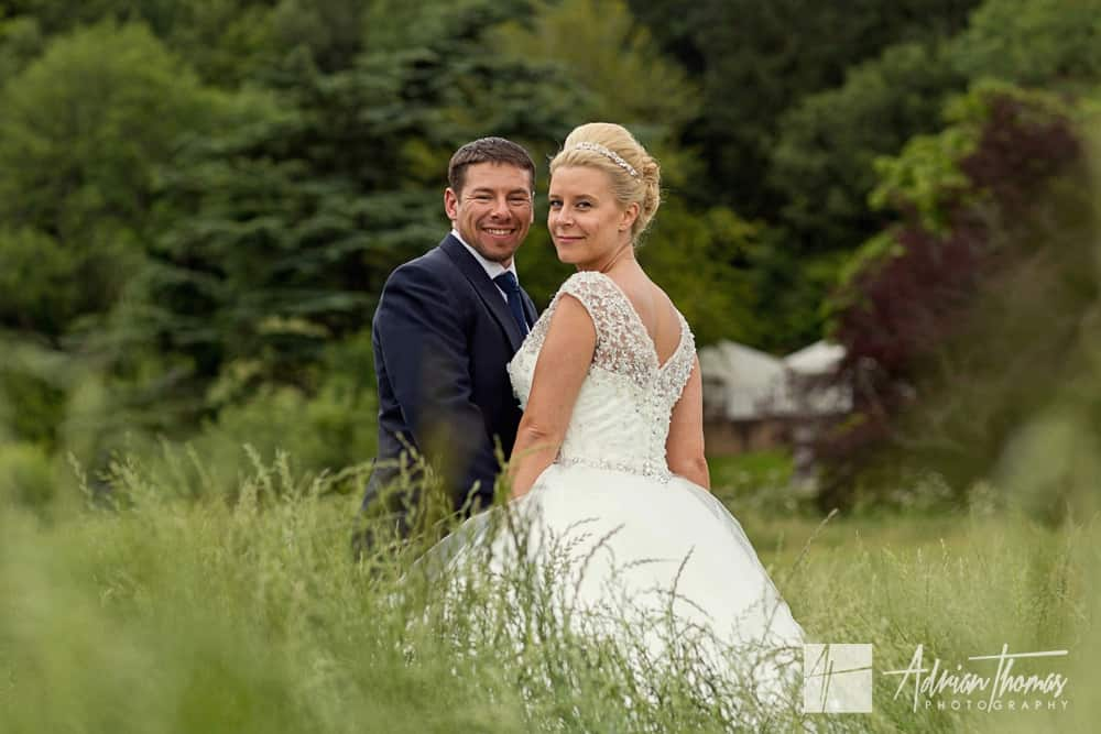 New House Hotel wedding portrait in a field in Cardiff.