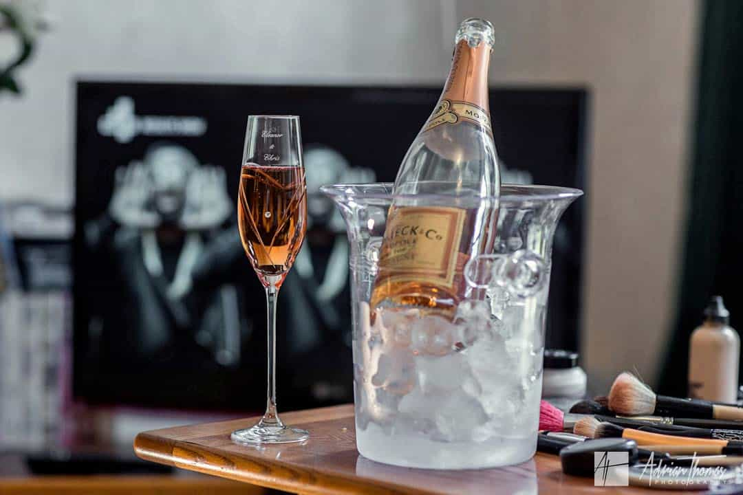 Champagne and engraved flute