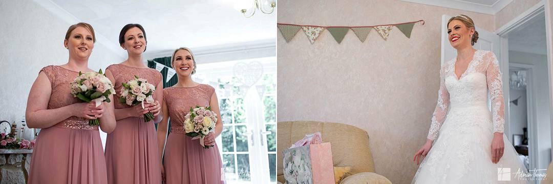 Bride reveals dress to bridesmaids
