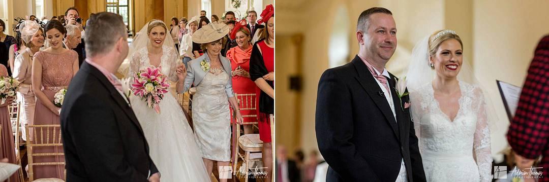 Groom greeting the bride