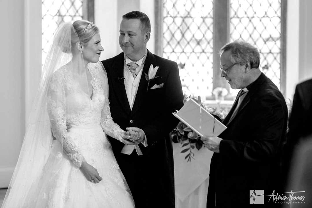 Proud bride and groom during their Clearwell Castle wedding.