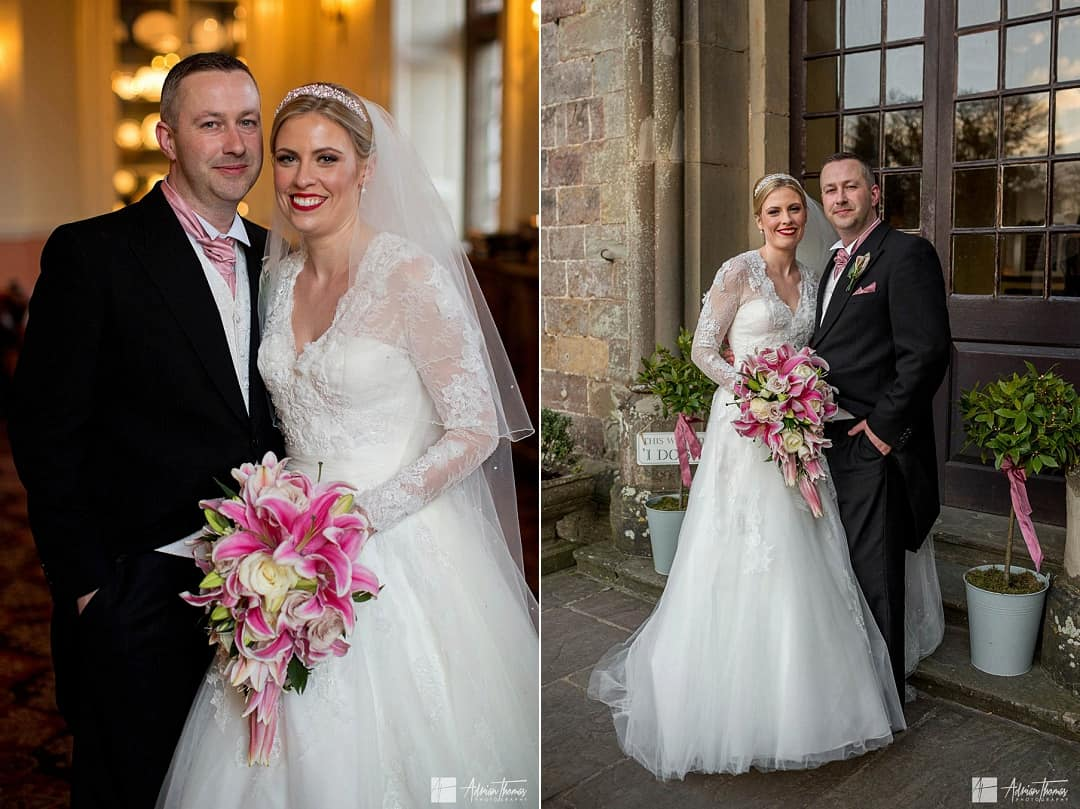 Portrait image of bride and groom at their wedding.