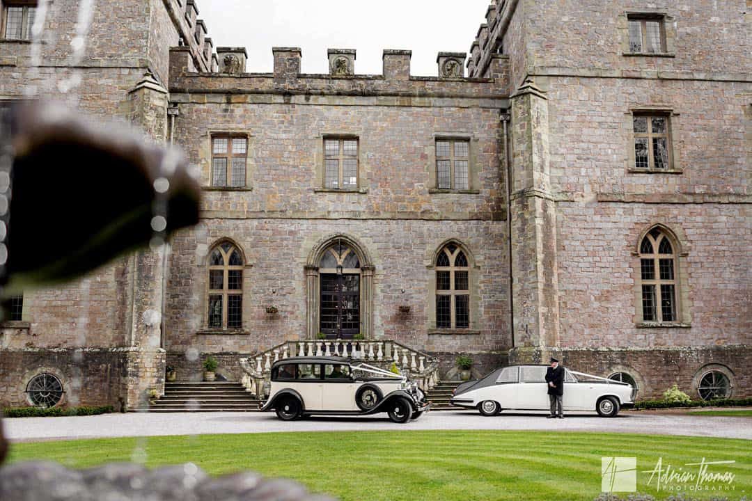 Wedding cars take bride and groom for a road trip