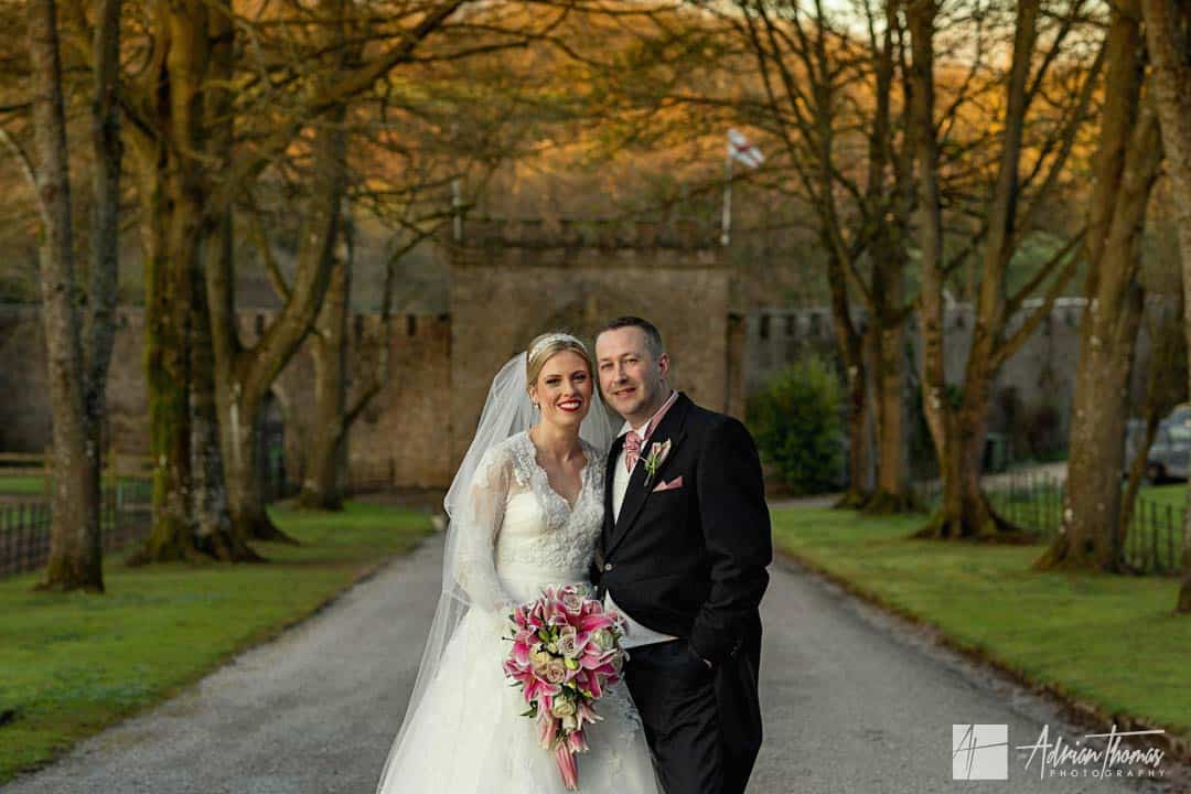 Image of bride and groom at Clearwell Castle wedding